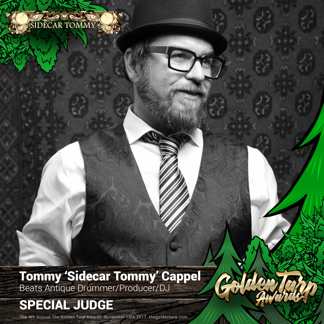 Sidecar Tommy from Beats Antique judges at The Golden Tarp Awards