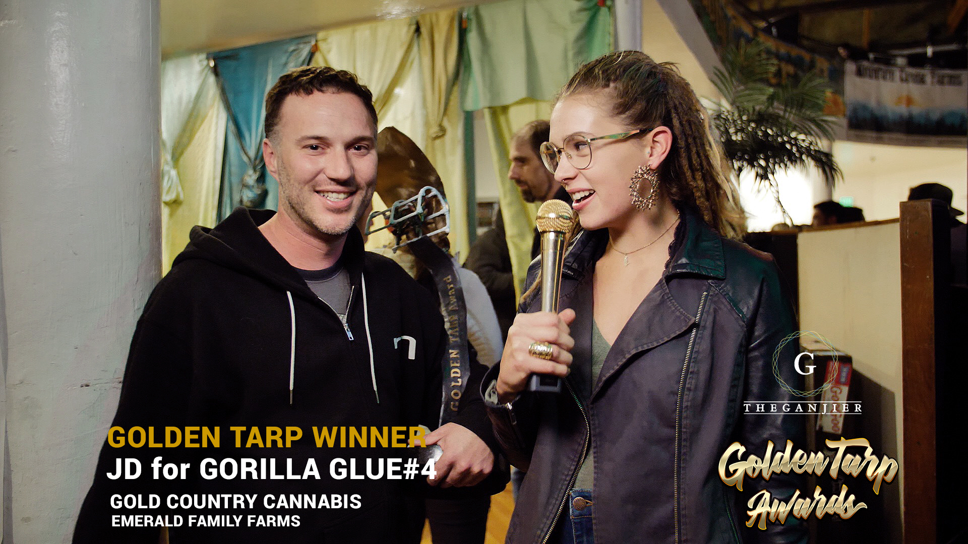 JD of Gold Coast Cannabis, an Emerald Family Farm member, wins the top Golden Tarp Award for his Gorilla Glue!